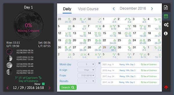 Moon Phase Calendar Software for Mac OS and Windows