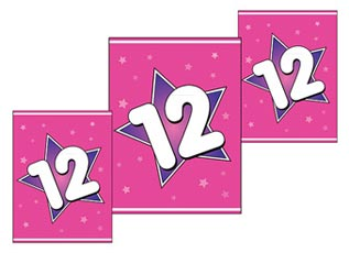 Pink Heart With Stitching Crown A Ribbon And The Number Happy Birthday Twelve 12 Year Fun Celebration Greeting Card Text Label Colorful